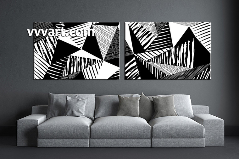 2 piece huge pictures, living room multi panel canvas, black and white canvas wall art, abstract artwork, oil paintings decor