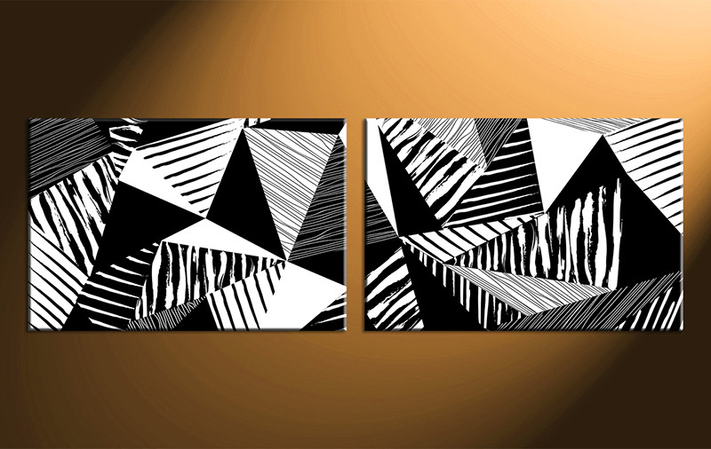 2 Piece Canvas Abstract Black And White Oil Paintings Art Abstract Painting
