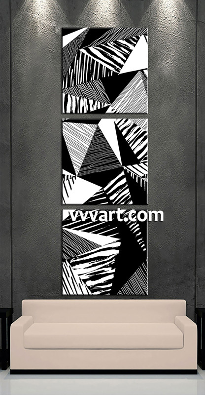 3 Piece Abstract Black and White Oil Paintings Large Canvas,Abstract  Triptych Art