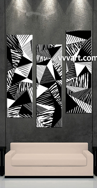 3 Piece Wall Art Black And White Multi Panel Art Oil Paintings Artwork
