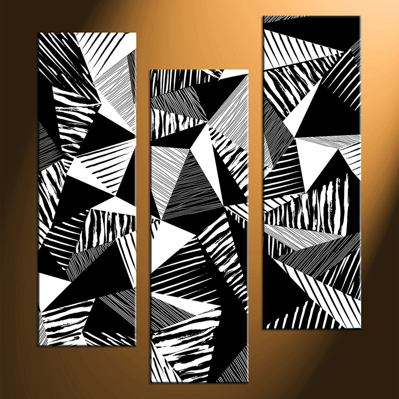 Triptych Art 3 Piece Abstract Black And White Oil Paintings Photo Canvas