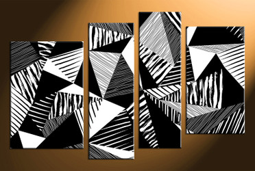 4 piece wall art, home decor abstract artwork, oil paintings pictures, abstract canvas wall art, black and white huge pictures