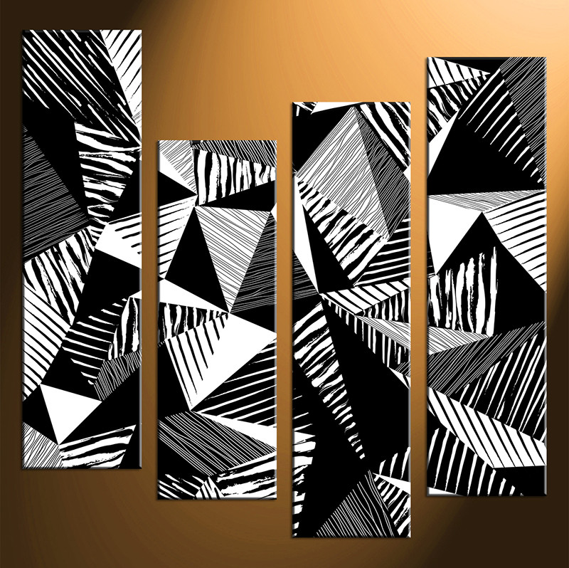 Abstract Art Black And White 2 Piece Wall