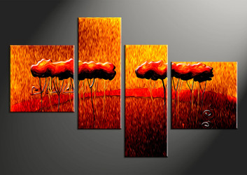 4 piece canvas photography, home decor artwork, modern oil paintings photo canvas, modern orange canvas photography