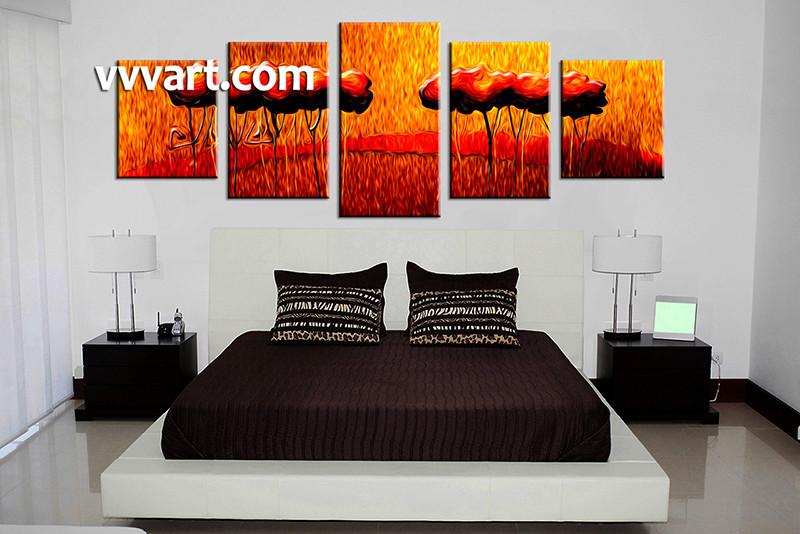 5 Piece Decor,Red Orange Modern Oil Paintings,Canvas Photography,Abstract  Painting