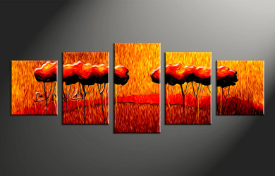 home decor, 5 piece wall art, modern photo canvas, oil paintings modern canvas photography, orange modern large canvas