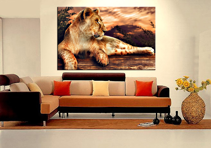 1 Piece Orange Lion Wildlife Canvas Wall Decor Canvas Prints