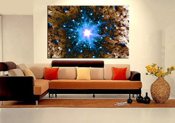 1 piece large pictures, living room large canvas,modern photo canvas, blue modern artwork