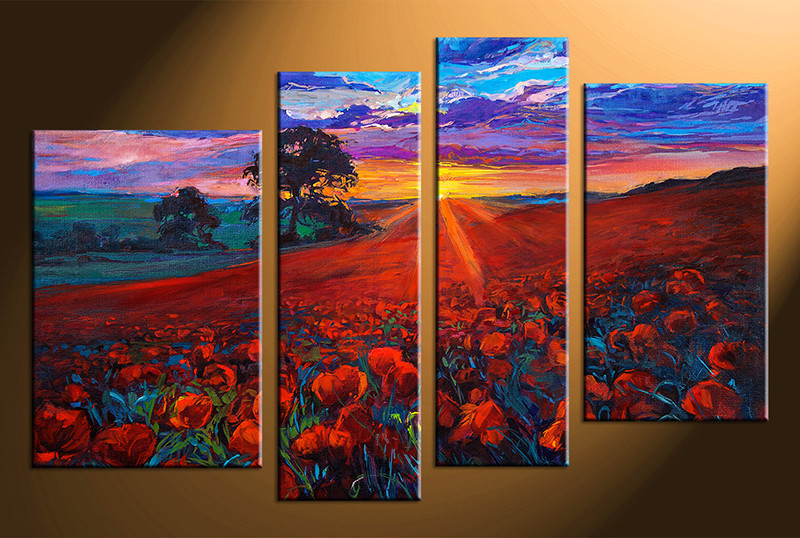 4 Piece Sunrise Scenery Colorful Group Canvas Oil Paintings