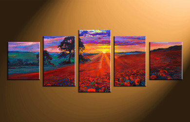 5 piece canvas photography, home decor art, sunrise scenery canvas art , oil paintings scenery huge pictures