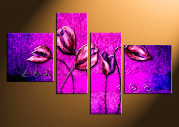 home decor,4 piece canvas wall art, floral photo canvas, purple floral canvas photography, floral oil paintings large canvas