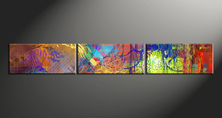3pieces Modern Abstract Huge Wall Art Oil Painting On: 3 Piece Colorful Wall Art Oil Paintings Abstract Pictures