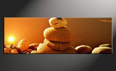 1 piece large pictures, home decor wall art, modern canvas photography, orange modern stone decor