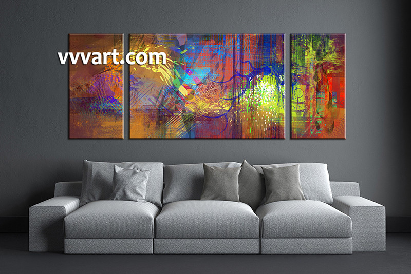 3 Piece Abstract Wall Art Colorful Oil Paintings Large Canvas