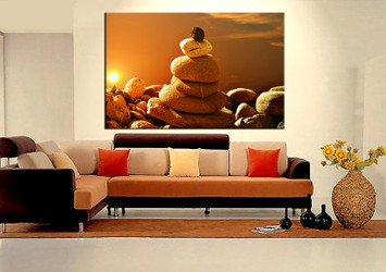 1 piece wall art, living room large canvas, modern huge pictures, orange modern stone canvas wall art
