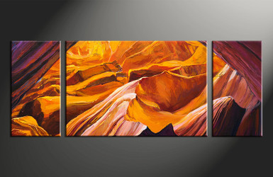 3 piece canvas wall art, home decor art, orange landscape canvas art, landscape pictures, oil paintings huge pictures