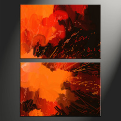 2 piece photo canvas, home decor artwork, oil paintings abstract  multi panel canvas, orange abstract canvas photography