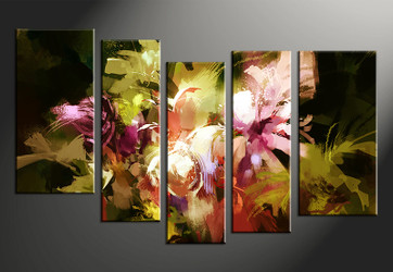 5 piece large canvas, home decor artwork, oil paintings floral large pictures, floral art