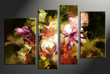 4 piece wall art, home decor floral artwork, floral pictures, colorful floral canvas photography, floral oil paintings huge pictures