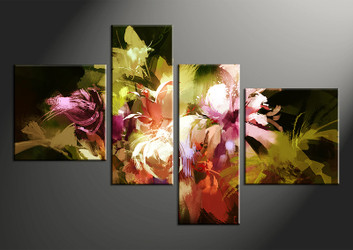 4 piece canvas photography, home decor art, floral oil paintings huge pictures, colorful floral wall decor