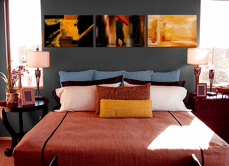 3 Piece Canvas Modern Oil Paintings Orange Brown Abstract Huge Canvas