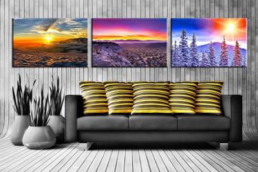 3 piece canvas wall art, landscape artwork, sunrise landscape wall art, mountain landscape pictures, living room decor