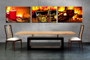 3 piece large pictures, dining room wall decor, wine group canvas, wine artwork, red cup wall art