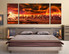 3 piece canvas wall art, bedroom huge canvas print, orange large pictures, landscape artwork