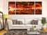 3 piece art, living room multi panel canvas, landscape wall decor, orange panoramic  group canvas