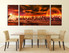 3 piece canvas art prints, dining room large canvas, landscape canvas wall art, orange panoramic canvas print
