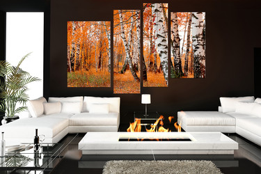 4 piece large pictures, living room group canvas, scenery canvas wall art, orange art work, nature wall decor