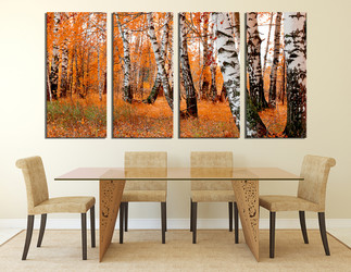 4 piece photo canvas,  dining room multi panel canvas, orange scenery large pictures, nature art