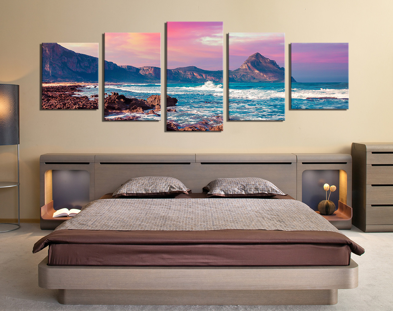 5 piece canvas photography purple panoramic canvas wall art mountain multi panel canvas ocean huge canvas art landscape canvas print