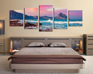 5 piece canvas wall art, bedroom canvas photography, mountain artwork, landscape large Pictures