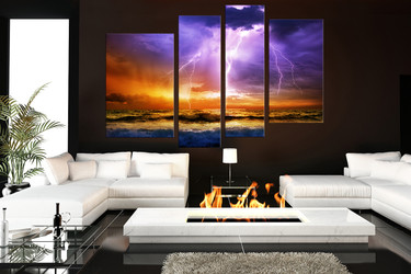 4 piece huge canvas art, ocean multi panel art, purple multi panel art, thunderstorm  wall decor, living room art