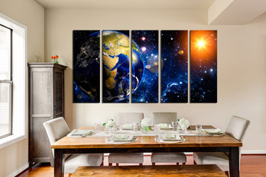 5 piece canvas wall art, blue space photo canvas, planet large pictures, dining room wall decor