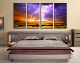 4 piece large pictures, bedroom canvas wall art,  purple huge canvas art, ocean decor
