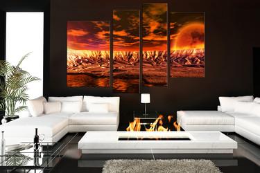 4 piece multi panel canvas, living room huge canvas art, orange art, landscape wall decor