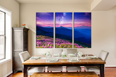 3 piece canvas photography, blue landscape artwork, floral multi panel art, dining room group canvas