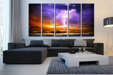 5 piece photo canvas, living room canvas wall art, purple multi panel canvas, ocean canvas print