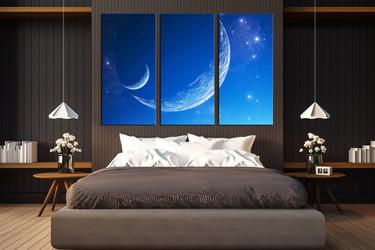 3 piece huge canvas print, bedroom multi panel art, modern large pictures, blue wall art, stars artwork