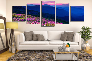 5 piece huge pictures, living room canvas photography, floral canvas wall art, blue landscape group canvas
