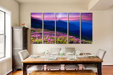 5 piece canvas photography, dining room canvas print, blue landscape wall decor, floral multi panel canvas