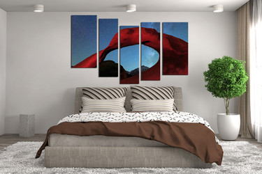 5 piece canvas wall decor, mountain wall decor, bedroom canvas photography, red landscape huge pictures