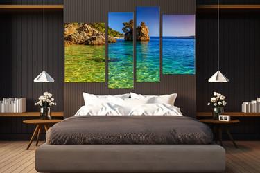 4 piece group canvas, bedroom canvas photography, ocean multi panel canvas, mountain art