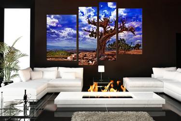 4 piece wall decor, living room huge canvas print, scenery multi panel canvas, blue artwork, tree canvas print