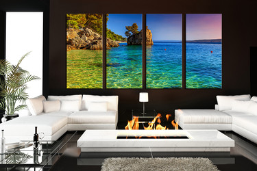 4 piece group canvas, living room large pictures, blue ocean multi panel canvas, sea canvas print