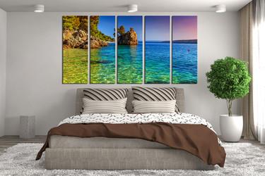 5 piece photo canvas, blue ocean multi panel canvas, ocean artwork, sea art, mountain canvas print, bedroom decor