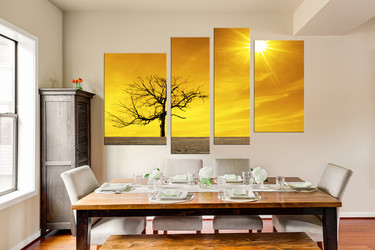 4 piece huge canvas art, dining room canvas photograph, scenery large pictures, yellow group canvas