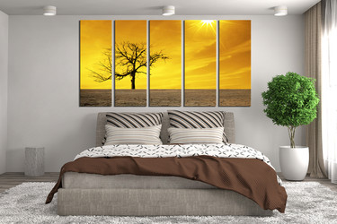 5 piece canvas photography, bedroom canvas wall art, scenery huge canvas print, yellow canvas print